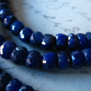 Shop Sapphire Rondelle Beads! 5-50 pcs / 3.5-4mm SAPPHIRE Gemstone Beads Rondelles / Medium Blue, Luxe AAA / dyed september birthstone tr s wholesale bead dsa | Natural genuine rondelle Sapphire beads for beading and jewelry making.  #jewelry #beads #beadedjewelry #diyjewelry #jewelrymaking #beadstore #beading #affiliate #ad