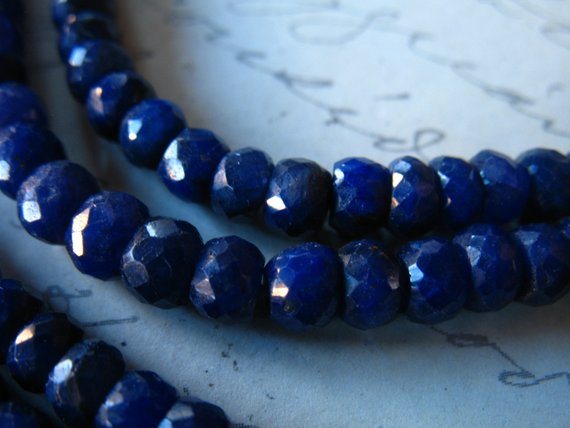 5-50 Pcs / 3.5-4mm Sapphire Gemstone Beads Rondelles / Medium Blue, Luxe Aaa / Dyed September Birthstone Tr S Wholesale Bead Dsa