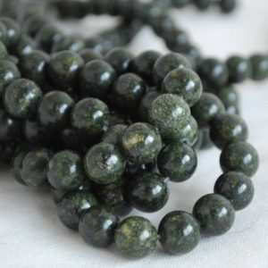 "High Quality Grade A Natural Russian Serpentine (green) Semi-precious Gemstone Round Beads – 4mm, 6mm, 8mm, 10mm Sizes – 16"" Strand 