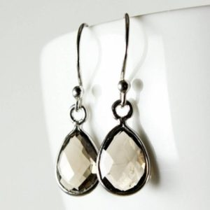 Smoky Quartz Sterling Silver Earrings, Natural Gray Brown Gemstone Everyday Dainty Dangle Drops Mom Wife Sister Girlfriend Grandma Gift 2420 | Natural genuine Smoky Quartz earrings. Buy crystal jewelry, handmade handcrafted artisan jewelry for women.  Unique handmade gift ideas. #jewelry #beadedearrings #beadedjewelry #gift #shopping #handmadejewelry #fashion #style #product #earrings #affiliate #ad