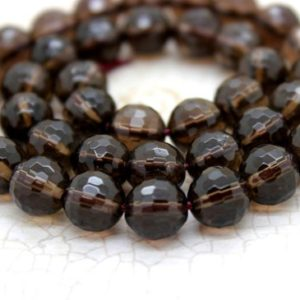 Shop Smoky Quartz Faceted Beads! Natural Smoky Quartz Faceted Round Ball Sphere Beads Natural Gemstone Stone (4mm 6mm 8mm 10mm 12mm) | Natural genuine faceted Smoky Quartz beads for beading and jewelry making.  #jewelry #beads #beadedjewelry #diyjewelry #jewelrymaking #beadstore #beading #affiliate #ad