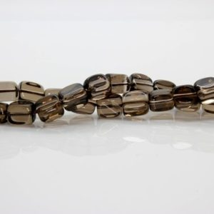 Smoky Quartz Transparent Cube Beads Natural Stone Gemstone (Full Strand) | Natural genuine other-shape Smoky Quartz beads for beading and jewelry making.  #jewelry #beads #beadedjewelry #diyjewelry #jewelrymaking #beadstore #beading #affiliate #ad
