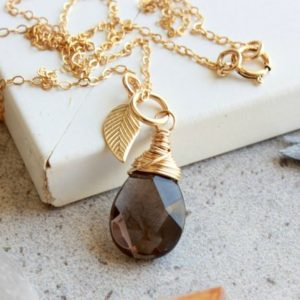 Shop Smoky Quartz Pendants! Smokey Quartz Gold Filled Necklace, Wire Wrapped Genuine Brown Gemstone Dainty Solitaire Minimalist Leaf Charm Pendant, Gift For Her, 4785 | Natural genuine Smoky Quartz pendants. Buy crystal jewelry, handmade handcrafted artisan jewelry for women.  Unique handmade gift ideas. #jewelry #beadedpendants #beadedjewelry #gift #shopping #handmadejewelry #fashion #style #product #pendants #affiliate #ad