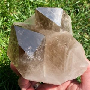 Shop Raw & Rough Smoky Quartz Stones! Large Gorgeous Smoky Quartz Cluster from Brazil / Natural Smokey 1.9lbs #2C | Natural genuine stones & crystals in various shapes & sizes. Buy raw cut, tumbled, or polished gemstones for making jewelry or crystal healing energy vibration raising reiki stones. #crystals #gemstones #crystalhealing #crystalsandgemstones #energyhealing #affiliate #ad