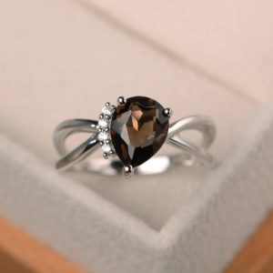 Shop Smoky Quartz Rings! Anniversary ring, natural smoky quartz ring, pear cut brown gemstone, sterling silver ring | Natural genuine Smoky Quartz rings, simple unique handcrafted gemstone rings. #rings #jewelry #shopping #gift #handmade #fashion #style #affiliate #ad