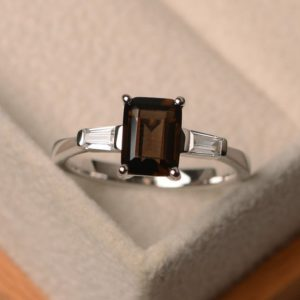Shop Smoky Quartz Rings! Natural smoky quartz ring, emerald cut brown gemstone ring, sterling silver, three stone rings,  promise ring | Natural genuine Smoky Quartz rings, simple unique handcrafted gemstone rings. #rings #jewelry #shopping #gift #handmade #fashion #style #affiliate #ad
