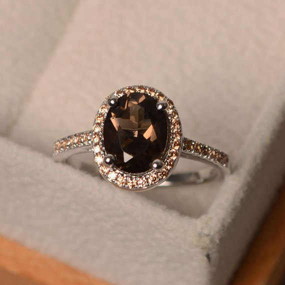 Natural Smoky Quartz Ring, Halo Ring, Oval Cut Brown Gemstone, Sterling Silver Ring, Engagement Ring