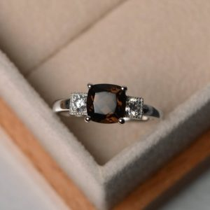 Shop Smoky Quartz Rings! natural smoky quartz ring,cushion cut,engagement ring ,real gemstone ring,sterling silver ring | Natural genuine Smoky Quartz rings, simple unique alternative gemstone engagement rings. #rings #jewelry #bridal #wedding #jewelryaccessories #engagementrings #weddingideas #affiliate #ad