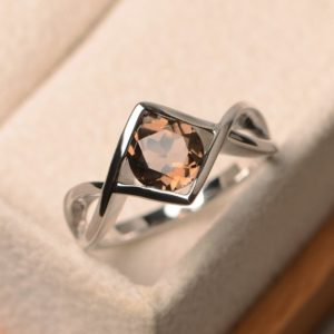 Shop Smoky Quartz Rings! Natural smoky quartz rings, cocktail party rings, round cut brown gemstone, sterling silver rings, gifts for her   Natural genuine Smoky Quartz rings, simple unique handcrafted gemstone rings. #rings #jewelry #shopping #gift #handmade #fashion #style #affiliate #ad