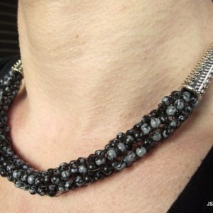 Shop Snowflake Obsidian Necklaces! Snowflake Obsidian Beaded Handwoven Necklace on Platinum Chain, Handmade Beaded Obsidian Jewelry | Natural genuine Snowflake Obsidian necklaces. Buy crystal jewelry, handmade handcrafted artisan jewelry for women.  Unique handmade gift ideas. #jewelry #beadednecklaces #beadedjewelry #gift #shopping #handmadejewelry #fashion #style #product #necklaces #affiliate #ad