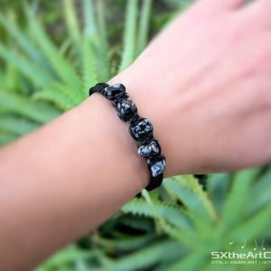Shop Snowflake Obsidian Jewelry! Snowflake Obsidian bracelet, braided stacking wristband, Sagittarius stone, scorpio gemstone, yoga gift, for him, for her, men jewelry | Natural genuine Snowflake Obsidian jewelry. Buy crystal jewelry, handmade handcrafted artisan jewelry for women.  Unique handmade gift ideas. #jewelry #beadedjewelry #beadedjewelry #gift #shopping #handmadejewelry #fashion #style #product #jewelry #affiliate #ad