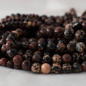 "Shop Snowflake Obsidian Round Beads! High Quality Grade A Natural Red Snowflake Obsidian Semi-precious Gemstone Round Beads – 4mm, 6mm, 8mm, 10mm sizes – 15.5"" strand 