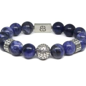 Shop Sodalite Bracelets! Sodalite and Sterling Silver Beads Bracelet, Sodalite Bracelet, Men's Bracelet, Bead Bracelet Men, Men's Silver Bracelet, Bracelet Men | Natural genuine Sodalite bracelets. Buy crystal jewelry, handmade handcrafted artisan jewelry for women.  Unique handmade gift ideas. #jewelry #beadedbracelets #beadedjewelry #gift #shopping #handmadejewelry #fashion #style #product #bracelets #affiliate #ad