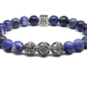 Shop Sodalite Bracelets! Men's Sodalite And Sterling Silver Bracelet, Sodalite Bracelet, Men's Blue Bracelet, Bracelet For Men, Men's Bracelet, Men's Silver Bracelet | Natural genuine Sodalite bracelets. Buy handcrafted artisan men's jewelry, gifts for men.  Unique handmade mens fashion accessories. #jewelry #beadedbracelets #beadedjewelry #shopping #gift #handmadejewelry #bracelets #affiliate #ad