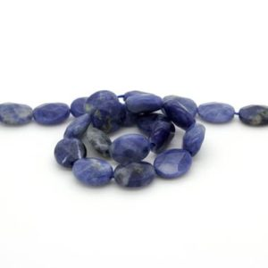 "Shop Sodalite Bead Shapes! Natural Sodalite Faceted Flat Oval Gemstone Beads – Full 15.5"" Strand 