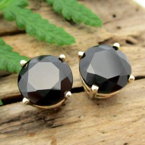 Shop Spinel Earrings! Black Spinel Screw Back Studs | Platinum, 14k Gold Minimalist Earrings For Men Or Women With Threaded Posts | Natural genuine Spinel earrings. Buy handcrafted artisan men's jewelry, gifts for men.  Unique handmade mens fashion accessories. #jewelry #beadedearrings #beadedjewelry #shopping #gift #handmadejewelry #earrings #affiliate #ad