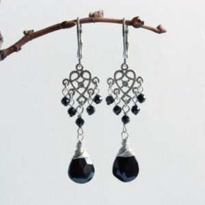 Shop Spinel Earrings! Black Spinel Earrings, Sterling Silver, Natural Black Gemstones, Filigree Chandeliers Boho Luxe Dangle Drop, Holiday Gift For Her, 5161 | Natural genuine Spinel earrings. Buy crystal jewelry, handmade handcrafted artisan jewelry for women.  Unique handmade gift ideas. #jewelry #beadedearrings #beadedjewelry #gift #shopping #handmadejewelry #fashion #style #product #earrings #affiliate #ad