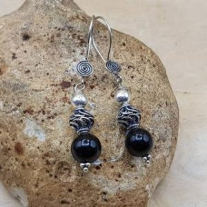 Shop Spinel Earrings! Spinel drop earrings. 22nd anniversary gemstone. Reiki jewelry uk. 8mm black stone. Black Bali silver dangle earrings | Natural genuine Spinel earrings. Buy crystal jewelry, handmade handcrafted artisan jewelry for women.  Unique handmade gift ideas. #jewelry #beadedearrings #beadedjewelry #gift #shopping #handmadejewelry #fashion #style #product #earrings #affiliate #ad