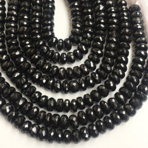Shop Spinel Faceted Beads! Black spinel faceted rondelle beads,8-9mm,9 inches black spinel beads | Natural genuine faceted Spinel beads for beading and jewelry making.  #jewelry #beads #beadedjewelry #diyjewelry #jewelrymaking #beadstore #beading #affiliate #ad