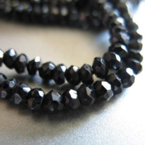 Shop Spinel Faceted Beads! SPINEL Rondelles Gemstone Beads Roundels, Black Spinel, Luxe AAA, 1/2 Strand, 3-3.5 mm, Faceted Loose Semiprecious Gems Rondell Beads solo | Natural genuine faceted Spinel beads for beading and jewelry making.  #jewelry #beads #beadedjewelry #diyjewelry #jewelrymaking #beadstore #beading #affiliate #ad