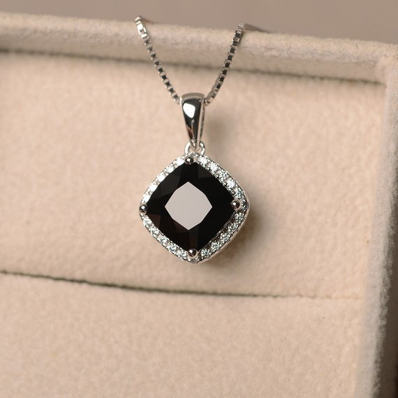 Black Spinel Pendent, Black Spinel Necklace, Cushion Cut, Sterling Silver, Halo, Black Spinel Jewelry, Anniversary Gift