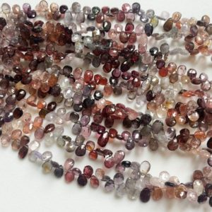 5x7mm Multi Spinel Faceted Pear Beads, Natural Spinel Briolette Beads, Multi Spinel Fcaeted Pear For Jewelry (4IN To 8IN Options) – AGA69 | Natural genuine other-shape Spinel beads for beading and jewelry making.  #jewelry #beads #beadedjewelry #diyjewelry #jewelrymaking #beadstore #beading #affiliate #ad