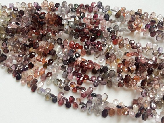 5x7mm Multi Spinel Faceted Pear Beads, Natural Spinel Briolette Beads, Multi Spinel Fcaeted Pear For Jewelry (4in To 8in Options) - Aga69