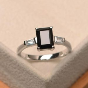 Shop Spinel Jewelry! Anniversary ring, natural black spinel ring, emerald cut black gemstone, sterling silver ring,three stones ring | Natural genuine Spinel jewelry. Buy crystal jewelry, handmade handcrafted artisan jewelry for women.  Unique handmade gift ideas. #jewelry #beadedjewelry #beadedjewelry #gift #shopping #handmadejewelry #fashion #style #product #jewelry #affiliate #ad