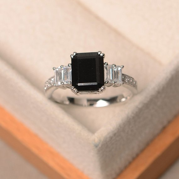 Anniversary Ring, Natural Black Spinel Ring, Emerald Cut Black Gemstone, Sterling Silver Ring