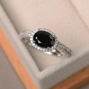 Shop Spinel Rings! Anniversary Ring, Natural Black Spinel Ring, Oval Cut Gems, Black Gemstone, Sterling Silver Ring, Bridal Sets | Natural genuine Spinel rings, simple unique alternative gemstone engagement rings. #rings #jewelry #bridal #wedding #jewelryaccessories #engagementrings #weddingideas #affiliate #ad