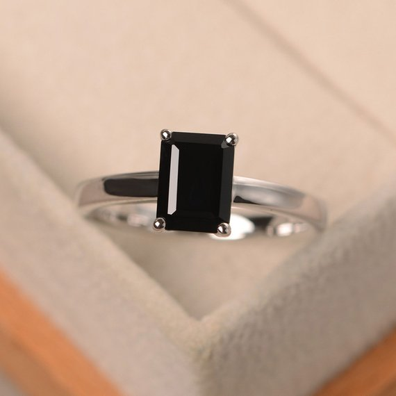 Black Spinel Ring, Emerald Cut Solitaire Ring, Sterling Silver Ring, Black Gemstone Ring, Anniversary Ring