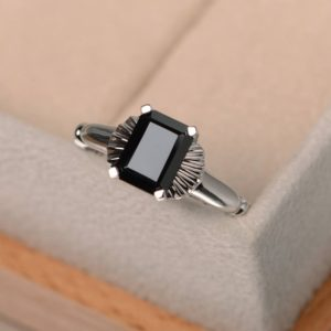 Shop Spinel Rings! black gemstone ring,natural black spinel ring,cocktail ring,silver ring,emerald cut,solitaire ring | Natural genuine Spinel rings, simple unique handcrafted gemstone rings. #rings #jewelry #shopping #gift #handmade #fashion #style #affiliate #ad