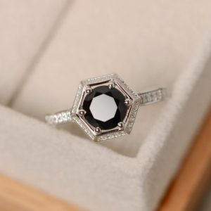 Shop Spinel Rings! Black gemstone ring, black spinel ring, sterling silver, engagement ring | Natural genuine Spinel rings, simple unique alternative gemstone engagement rings. #rings #jewelry #bridal #wedding #jewelryaccessories #engagementrings #weddingideas #affiliate #ad
