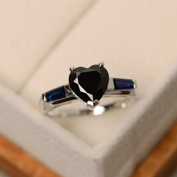 Black Spinel Ring, Black Ring, Heart Cut Ring, Spinel