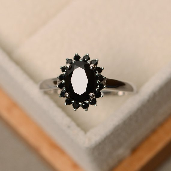 Black Spinel Ring, Oval Cut, Natural Spinel Ring,halo Ring