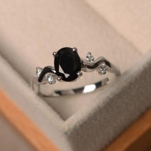 Shop Spinel Rings! Black spinel ring, oval cut, sterling silver rings, promise ring | Natural genuine Spinel rings, simple unique handcrafted gemstone rings. #rings #jewelry #shopping #gift #handmade #fashion #style #affiliate #ad