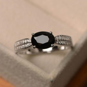 Shop Spinel Rings! black spinel ring, oval shape black gemstone ring, engagement ring for her | Natural genuine gemstone jewelry in modern, chic, boho, elegant styles. Buy crystal handmade handcrafted artisan art jewelry & accessories. #jewelry #beaded #beadedjewelry #product #gifts #shopping #style #fashion #product