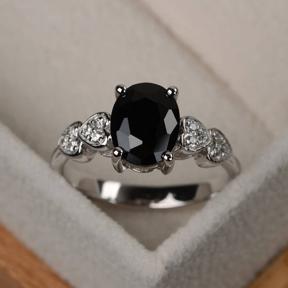Black Spinel Rinng, Black Rings, Oval Cut Engagement Ring, Oval Gemstone Ring Silver