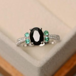 Shop Spinel Rings! Black Spinel Ring, Black Ring, Silver, Oval Cut Spinel Ring | Natural genuine Spinel rings, simple unique handcrafted gemstone rings. #rings #jewelry #shopping #gift #handmade #fashion #style #affiliate #ad