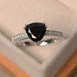 Shop Spinel Rings! Black spinel ring, trillion cut black rings, gemstone ring black, sterling silver ring, promise ring | Natural genuine Spinel rings, simple unique handcrafted gemstone rings. #rings #jewelry #shopping #gift #handmade #fashion #style #affiliate #ad