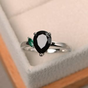 Shop Spinel Rings! Cocktail party ring, natural black spinel ring, pear cut gemstone, black gemstone, sterling silver ring | Natural genuine Spinel rings, simple unique handcrafted gemstone rings. #rings #jewelry #shopping #gift #handmade #fashion #style #affiliate #ad