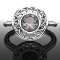 Gray Spinel Ring With Swirl Halo; Genuine Round Spinel, Solid 14k Rose, White, Or Yellow Real Gold Gemstone Solitaire   Natural genuine gemstone jewelry in modern, chic, boho, elegant styles. Buy crystal handmade handcrafted artisan art jewelry & accessories. #jewelry #beaded #beadedjewelry #product #gifts #shopping #style #fashion #product