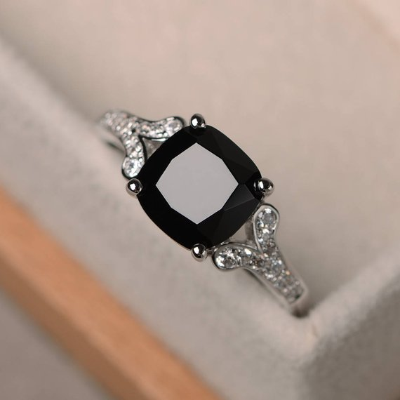 Natural Black Spinel Ring, Cushion Cut Engagement Anniversary Ring, Sterling Silver Ring,black Gemstone Ring
