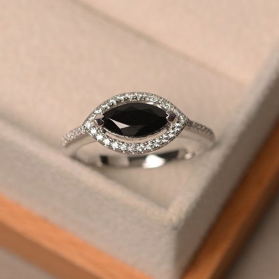 Natural Black Spinel Ring, Marquise Cut Gemstone, Sterling Silver, Engagement Ring, Black Gemstone, Engagement Ring