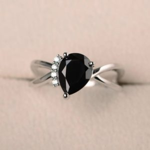 Shop Spinel Rings! Natural black spinel ring, promise ring, pear cut ring, black gemstone, solid sterling silver ring | Natural genuine Spinel rings, simple unique handcrafted gemstone rings. #rings #jewelry #shopping #gift #handmade #fashion #style #affiliate #ad