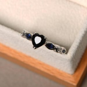Shop Spinel Rings! Natural Black Spinel Rings, Promise Rings, Heart Cut Rings, Black Gemstone, Sterling Silver Ring, Lovely Rings | Natural genuine Spinel rings, simple unique handcrafted gemstone rings. #rings #jewelry #shopping #gift #handmade #fashion #style #affiliate #ad