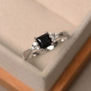 Shop Spinel Rings! Princes Cut, Black Spinel Ring, Sterling Silver, 4-prong Setting Ring | Natural genuine Spinel rings, simple unique handcrafted gemstone rings. #rings #jewelry #shopping #gift #handmade #fashion #style #affiliate #ad