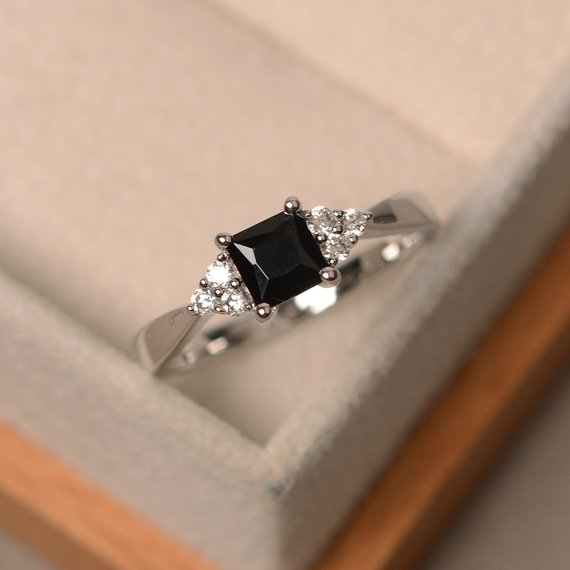 Princes Cut, Black Spinel Ring, Sterling Silver, 4-prong Setting Ring