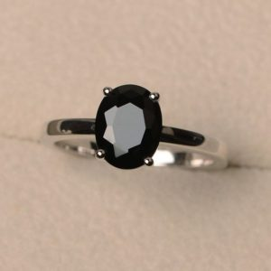 Solitaire ring, natural black spinel ring, oval cut gemstone ring, sterling silver ring, bridal ring for woman | Natural genuine Spinel rings, simple unique alternative gemstone engagement rings. #rings #jewelry #bridal #wedding #jewelryaccessories #engagementrings #weddingideas #affiliate #ad