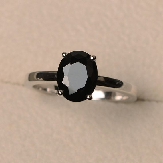 Solitaire Ring, Natural Black Spinel Ring, Oval Cut Gemstone Ring, Sterling Silver Ring, Bridal Ring For Woman